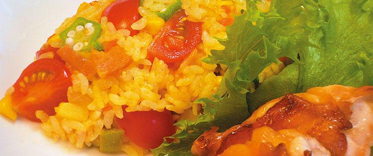 ミニトマト入りカレーピラフ(混ぜご飯)
