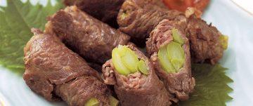 牛肉の梅風味アスパラ巻き